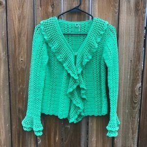 Anthropologie One Girl Who Crochet Boho Cardigan